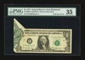 Error Notes:Foldovers, Fr. 1909-E $1 1977 Federal Reserve Note. PMG Choice Very Fine 35.....