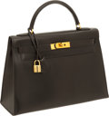 "Luxury Accessories:Bags, Hermes 32cm Black Box Leather Rigid Kelly with Gold Hardware, 13"" x8.5"" x 4"", Very Good Condition. ..."