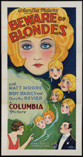 "Movie Posters:Drama, Beware of Blondes (Columbia, 1928). Three Sheet (41"" X 81"").Drama.. ..."