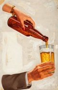 Paintings, AMERICAN ARTIST (20th Century). A Nice Cold One, beer advertisement, 1946. Oil on canvas. 25.5 x 16.75 in.. Not signed. ...