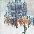 Mainstream Illustration, ROBERT L. WEAVER (American, 1924-1994). Figures in Front of St.Basil's Cathedral, Red Square. Gouache on board. 23.5 x ...