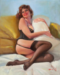 Pin-up and Glamour Art, AMERICAN ARTIST (20th Century). Redhead Cuddling Pillow. Oilon canvas. 30 x 24 in.. Signed illegibly lower right. ...