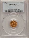 Gold Dollars: , 1883 G$1 MS64 PCGS. PCGS Population (123/265). NGC Census:(95/207). Mintage: 10,800. Numismedia Wsl. Price for problem fre...