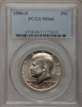 Kennedy Half Dollars: , 1980-D 50C MS66 PCGS. PCGS Population (61/35). NGC Census: (32/8).Mintage: 33,456,448. Numismedia Wsl. Price for problem f...