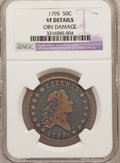 Early Half Dollars, 1795 50C 2 Leaves -- Obverse Damage -- NGC Details. VF. O-119,R.4....