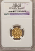 Liberty Quarter Eagles, 1842-D $2 1/2 -- Improperly Cleaned -- NGC Details. AU. Variety3-F....