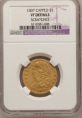 Early Half Eagles, 1807 $5 Bust Left -- Scratches -- NGC Details. VF. Breen-6453,BD-8, R.2....