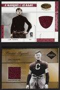 Football Cards:Singles (1970-Now), 2003 & '05 Leaf Jim Thorpe Jersey Swatch Card Pair (2). ...