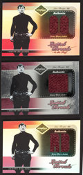 """Football Cards:Singles (1970-Now), 2003 Leaf """"Limited Threads"""" Jim Thorpe Jacket Swatch Card Trio (3)- All Numbered Limited Editions. ..."""