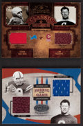 Football Cards:Singles (1970-Now), 2004 Donruss & 2005 Leaf - Dual Player Jim Thorpe Swatch Card Pair (2). ...