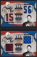 "Football Cards:Singles (1970-Now), 2005 Leaf Materials ""Fabric of The Game"" Jim Thorpe & JohnnyUnitas Swatch Card Pair (2). ..."