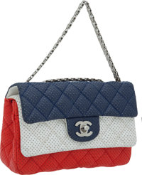 """Chanel Rare Red, White, & Blue 20cm Perforated Mademoiselle Chain Strap Double Flap Bag, 8"""" x 5"""" x 2.5&quo..."""