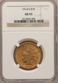 Indian Eagles: , 1914-S $10 AU53 NGC. NGC Census: (18/758). PCGS Population(30/628). Mintage: 208,000. Numismedia Wsl. Price for problem fr...