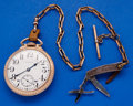 Timepieces:Pocket (post 1900), Waltham 21 Jewel Grade 645 With Chain & Pen Knife. ...