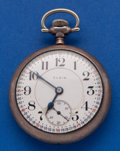 Timepieces:Pocket (post 1900), Elgin 19 Jewel B.W. Raymond Sterling & Gold Inlay Train CasePocket Watch. ...
