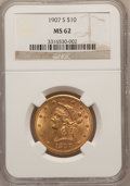 Liberty Eagles: , 1907-S $10 MS62 NGC. NGC Census: (77/49). PCGS Population (40/27).Mintage: 210,500. Numismedia Wsl. Price for problem free...