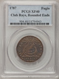 Colonials, 1787 1C Fugio Cent, Club Rays, Rounded Ends XF40 PCGS. N. 3-D,W-6680, R.3....