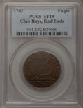 Colonials, 1787 1C Fugio Cent, Club Rays, Rounded Ends VF20 PCGS. N. 4-E,W-6685, R.3....