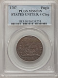 Colonials, 1787 1C Fugio Cent, STATES UNITED, 4 Cinquefoils, Pointed Rays MS60 Brown PCGS. N. 8-X, W-6750, R.3....
