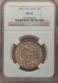 Seated Half Dollars, 1846 50C Tall Date MS62 NGC. WB-108....