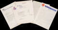 Miscellaneous Collectibles:General, Sports Stars Signed Letters Lot of 6....