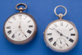 Timepieces:Pocket (pre 1900) , J. Tate (Winterton) Sterling Lever Fusee & A Swiss SterlingPatent Lever Fusee Pocket Watches. ... (Total: 2 Items)