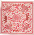 "Luxury Accessories:Accessories, Hermes Pink & Red Silk Scarf, ""Carre Kantha"", 36"" x 36"",Pristine Condition. ..."