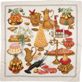 "Luxury Accessories:Accessories, Hermes Silk Scarf, ""Repas de Fete"", 36"" x 36"", Excellent Condition. ..."