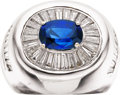 Estate Jewelry:Rings, Gentleman's Sapphire, Diamond, White Gold Ring, Pacetti. ...