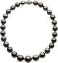 Estate Jewelry:Necklaces, Black South Sea Cultured Pearl, Diamond, White Gold Necklace. ...