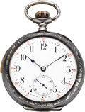Timepieces:Pocket (post 1900), Swiss Niello Enamel & Silver Five Minute Repeater, circa 1905....