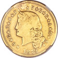 Proof Four Dollar Gold Pieces, 1879 $4 Flowing Hair, Judd-1635, Pollock-1832, R.3 -- Plugged, Harshly Cleaned -- NGC Details. XF....