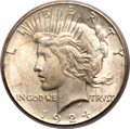 Peace Dollars, 1924-S $1 MS66 PCGS. CAC....