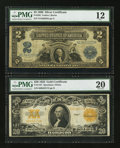 Large Size:Group Lots, Fr. 256 $2 1899 Silver Certificate PMG Fine 12.. Fr. 1187 $20 1922 Gold Certificate PMG Very Fine 20.. ... (Total: 2 notes)