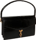 "Luxury Accessories:Bags, Hermes Vintage Shiny Black Crocodile Sac Cordeliere Bag, 9.5"" x 6""x 2"", Very Good Condition. ..."