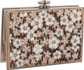 "Luxury Accessories:Bags, Judith Leiber Nude Sheared Silk & Floral Sequin Matte SilverFrame Evening Bag, 6.5"" x 4.5"" x 2"", Very Good Condition. ..."