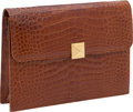 "Luxury Accessories:Bags, Lana Marks Cognac Shiny Alligator Pyramid Clutch Bag, 10"" x 7"" x2"", Excellent Condition. ..."