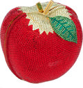 "Luxury Accessories:Bags, Finesse La Model Vintage Full Bead Red Apple Minaudiere, 4"" x 4"" x3"", Pristine Condition. ..."