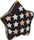 Luxury Accessories:Bags, Judith Leiber Full Bead Black with Gold & Silver Stars StarMinaudiere. ...