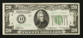 Error Notes:Blank Reverse (<100%), Fr. 2055-D $20 1934A Federal Reserve Note. Extremely Fine.. ...