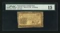 Colonial Notes:Pennsylvania, Pennsylvania March 16, 1785 20s PMG Choice Fine 15.. ...