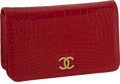 "Luxury Accessories:Bags, Chanel Bright Red Shiny Alligator Classic Clutch Bag with GoldChain Strap and Snap Closure, 7.5"" x 4"" x 2"", ExcellentCondition..."
