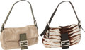 """Luxury Accessories:Bags, Two Fendi Baguettes, Brown & White Pony Hair and a FullTube-Beaded with Green Lizard Trim, 10"""" x 6"""" x 1.5"""", ExcellentCondition... (Total: 2 Items)"""