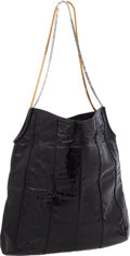 """Luxury Accessories:Bags, Judith Leiber Large Black Snakeskin Vintage Shoulder Bag withLeather Interior, 14"""" x 14"""" x 3"""", Excellent Condition . ..."""