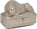 Luxury Accessories:Bags, Judith Leiber Early Design Rare Silver Lion Box Minaudiere withGreen Crystal Eyes. ...