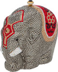 "Luxury Accessories:Bags, Kathrine Baumann Full Bead #6/500 Silver, Red, & Gold PaintedElephant Minaudiere, 5.5"" x 5"" x 2.5"", Pristine Condition. ..."