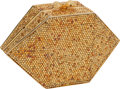 Luxury Accessories:Bags, Judith Leiber Full Bead Gold Hexagon Minaudiere Evening Bag withPink Cabochon Clasp. ...