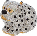 "Luxury Accessories:Bags, Judith Leiber Full Bead Silver with Black Spots Pug Minaudiere,4.5"" x 4"" x 3"", Pristine Condition. ..."
