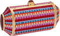 "Luxury Accessories:Bags, Judith Leiber Full Bead Pink, Purple, Red, & Blue Crystal andLarge Cabochon Minaudiere, 6.5"" x 3.5"" x 2"", Pristine Condition...."