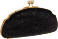 Luxury Accessories:Bags, Judith Leiber Prototype Full Bead Black Crystal & GoldKiss-Lock Clutch. ...